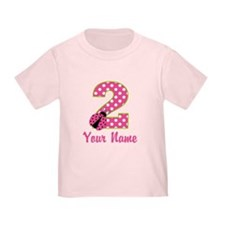2nd Birthday Ladybug Pink Green T