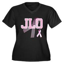 JLO initials, Pink Ribbon, Women's Plus Size V-Nec