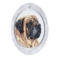 Mastiff Portrait Silver Tree Oval Ornament