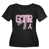 GTR initials, Pink Ribbon, Women's Plus Size Scoop