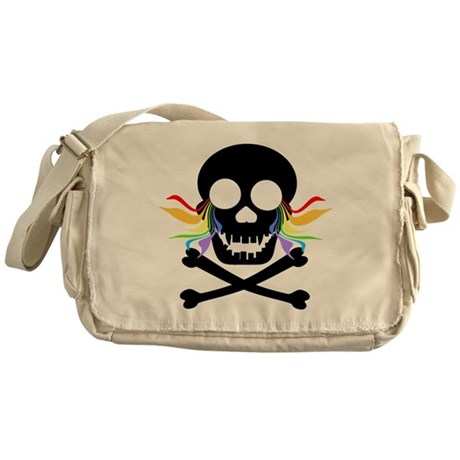 Black Skull Rainbow Tears Messenger Bag