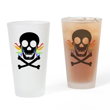 Black Skull Rainbow Tears Drinking Glass