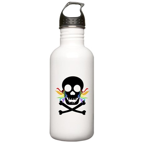 Black Skull Rainbow Tears Stainless Water Bottle 1