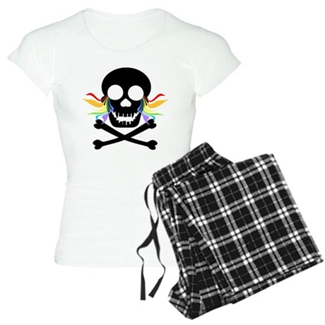 Black Skull Rainbow Tears Women's Light Pajamas