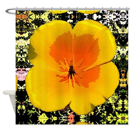 Painted Poppy Shower Curtain