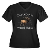 Canadian Elk Women's Plus Size V-Neck Dark T-Shirt