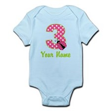 3rd Birthday Ladybug Pink Infant Bodysuit