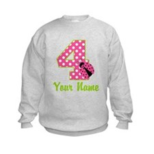 4th Birthday Ladybug Pink Sweatshirt