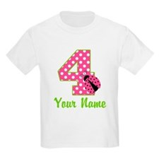4th Birthday Ladybug Pink T-Shirt