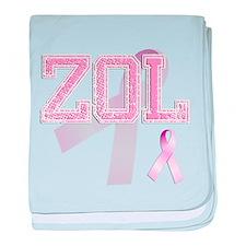 ZOL initials, Pink Ribbon, baby blanket