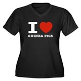 I Love Guinea Pigs Women's Plus Size V-Neck Dark T