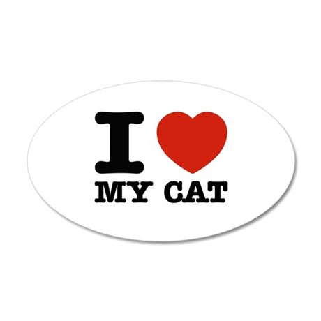 I Love My Cat 35x21 Oval Wall Decal