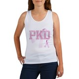 PKD initials, Pink Ribbon, Women's Tank Top