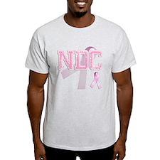 NDC initials, Pink Ribbon, T-Shirt