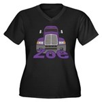 Trucker Zoe Women's Plus Size V-Neck Dark T-Shirt
