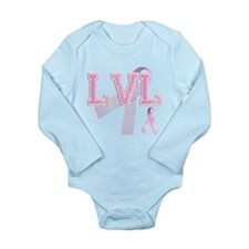 LVL initials, Pink Ribbon, Long Sleeve Infant Body