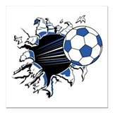 "soccer rip thru copy.jpg Square Car Magnet 3"" x 3"""