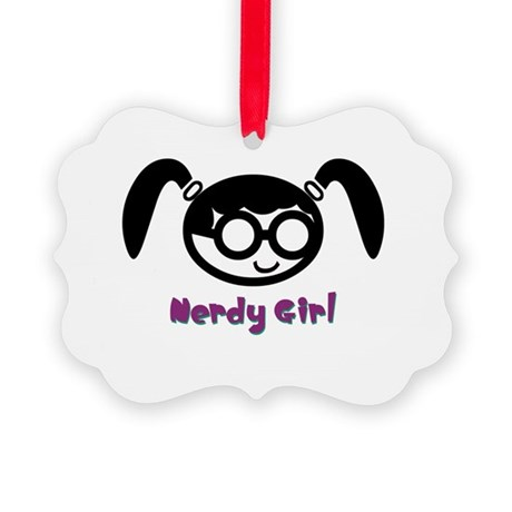 nerdy girl.psd Picture Ornament