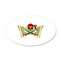 pirate scroll.jpg Oval Car Magnet
