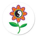 yinyangflower.jpg Round Car Magnet