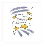 stars n stripes 4 ever copy.jpg Square Car Magnet