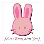 breast cancer bunny.psd Square Car Magnet 3