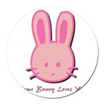 breast cancer bunny.psd Round Car Magnet