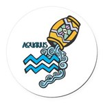 aquarius water symbol.jpg Round Car Magnet