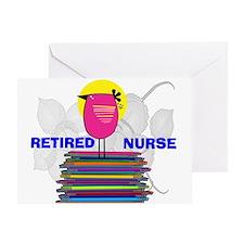 RETIRED NURSE BOOK BIRD.PNG Greeting Card