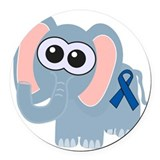 blue ribbon elephant copy.png Round Car Magnet