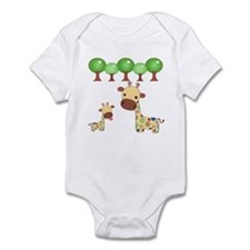 Mommy and Baby Giraffe Onesie - Blue Dots