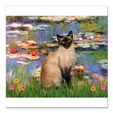 "MP-Lilies2-Siamese1.png Square Car Magnet 3"" x 3"""