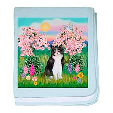 Blossoms/Tuxedo Cat baby blanket