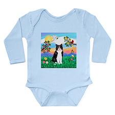 Bright Life / (B&W) Cat Long Sleeve Infant Bodysui