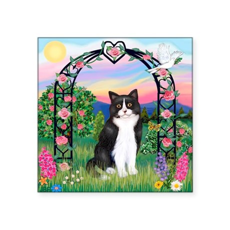 "Arbor / (B&W) Cat Square Sticker 3"" x 3"""