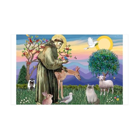 St Francis / Ragdoll 35x21 Wall Decal