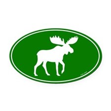 Moose Oval Green Car Magnet