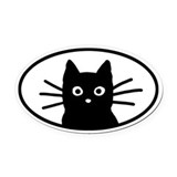 Black Cat Face Oval Car Magnet