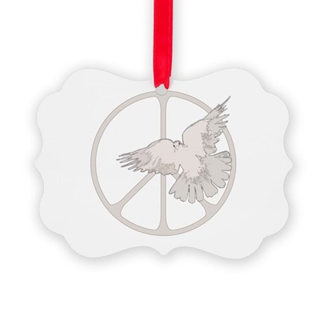 Peace Sign & Dove .png Picture Ornament