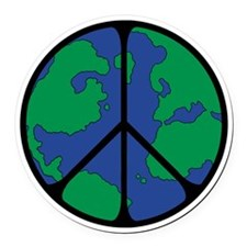 World Peace Round Globe.png Round Car Magnet