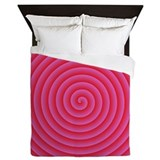 Pink Red Spiral Queen Duvet