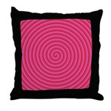 Pink Red Spiral Throw Pillow
