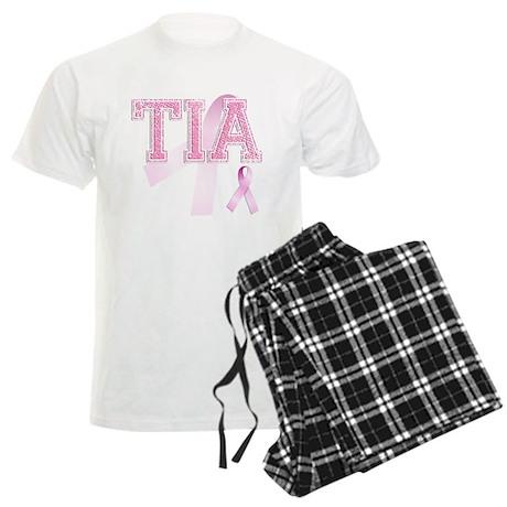 TIA initials, Pink Ribbon, Men's Light Pajamas