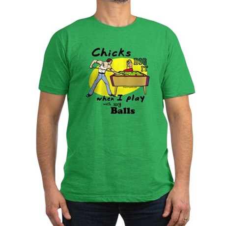 Chicks Dig It When Men's Fitted T-Shirt (dark)