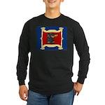 Dachshund Framed by Woman Long Sleeve Dark T-Shirt