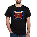 Dachshund Framed by Woman Dark T-Shirt