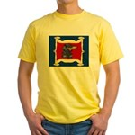 Dachshund Framed by Woman Yellow T-Shirt