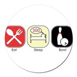 Eat Sleep Bowl Round Car Magnet