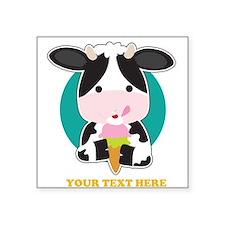 """Cow Ice Cream Square Sticker 3"""" x 3"""""""