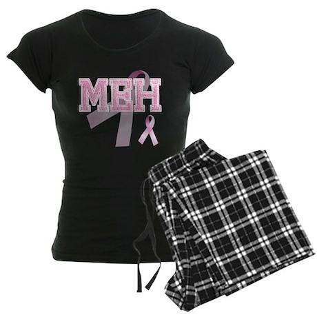 MEH initials, Pink Ribbon, Women's Dark Pajamas